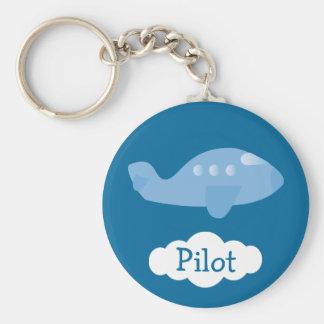 Pilote personnalisable d'avion bleu de bande dessi porte-clés