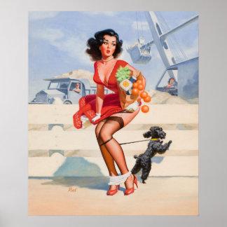Pin attaché par chien vers le haut d'art posters
