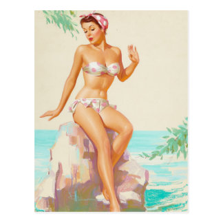 Pin de bikini de point de polka vers le haut d'art carte postale