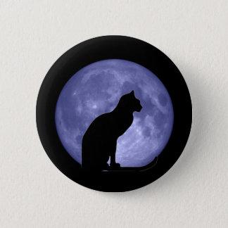 Pin de bouton de lune bleue de chat noir badge
