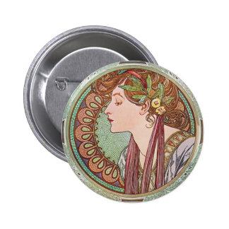 Pin de bouton de Nouveau d art de laurier d Alphon Badge