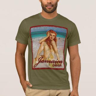 Pin de cru affligé par mélange de la Jamaïque vers T-shirt