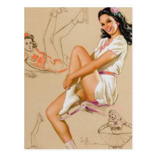 Pin de patins vers le haut d'art carte postale