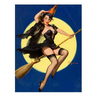 Pin de sorcière de Halloween vers le haut de fille Carte Postale