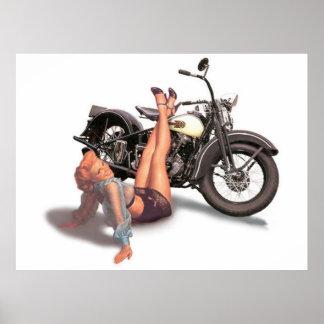 Pin espiègle vilain vintage de cycliste vers le posters