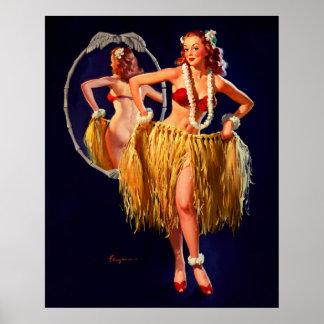 Pin hawaïen de danse polynésienne vintage de Gil E Affiche