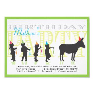 Pin la queue à l'invitation d'anniversaire d'âne carton d'invitation  12,7 cm x 17,78 cm