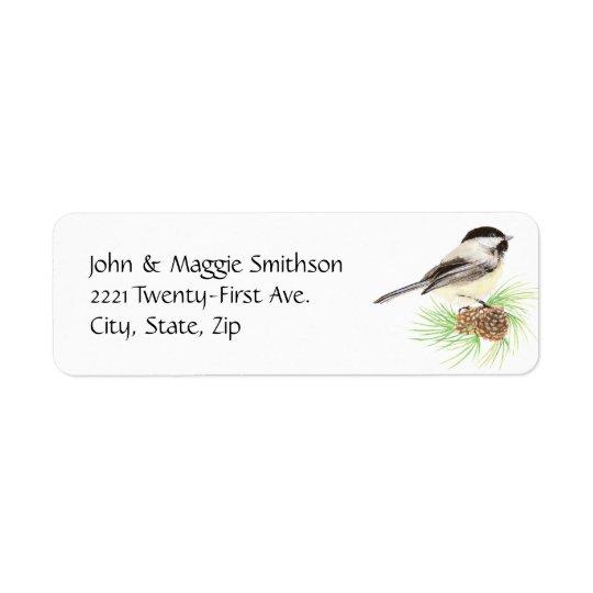Pin mignon d'oiseau de Chickadee d'aquarelle Étiquette D'adresse Retour