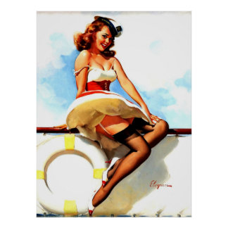 Pin nautique de marin vintage de Gil Elvgren vers  Poster