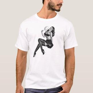 Pin noir de blanc de T_Shirts vers le haut des