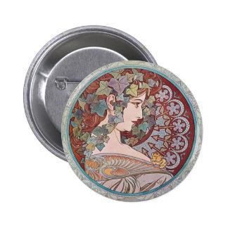 Pin rond de bouton de Nouveau d'art de lierre Badges