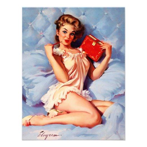 Pin secret vintage de Gil Elvgren de journal intim Faire-parts