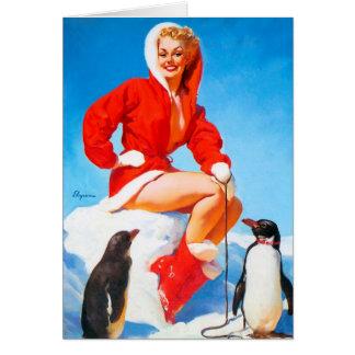 Pin-up de Noël avec des pingouins ! Carte De Vœux