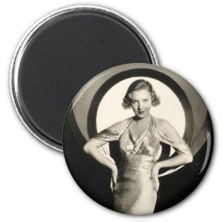 Pin-up vintage de vedette de film des années 1930 aimant pour réfrigérateur