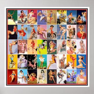 Pin vers le haut collage vintage 2 d'impression d' affiche