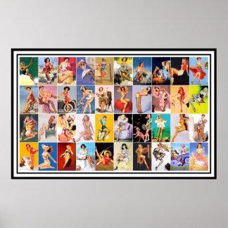 Pin vers le haut collage vintage d'impression d'ar posters