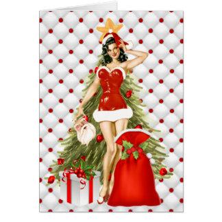 Pin vers le haut de carte de Noël de fille