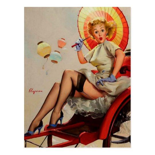 Pin vintage de Rickshaw de Gil Elvgren vers le Carte Postale