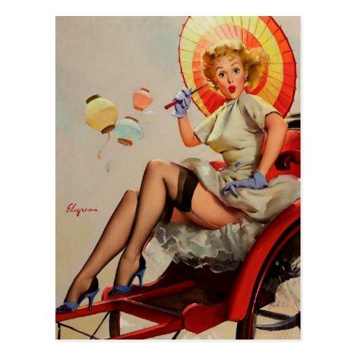 Pin vintage de Rickshaw de Gil Elvgren vers le hau Carte Postale
