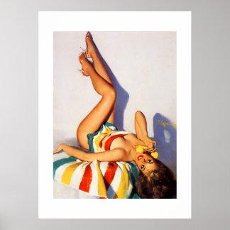 Pin vintage de téléphone de Gil Elvgren vers le Posters