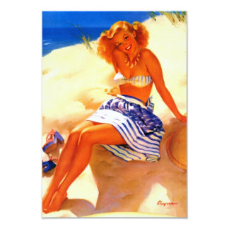 Pin vintage d'été de plage de Gil Elvgren vers le Carton D'invitation 8,89 Cm X 12,70 Cm