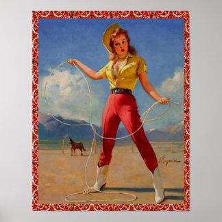 Pin vintage occidental de cow-girl vers le haut de posters
