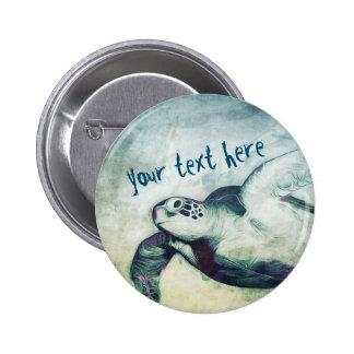 Pin volant de bouton de la tortue de mer verte | badges