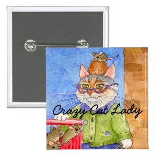 Pinback carré de Madame folle de chat Badges