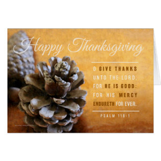 Pinecones et carte de cuivre de thanksgiving de