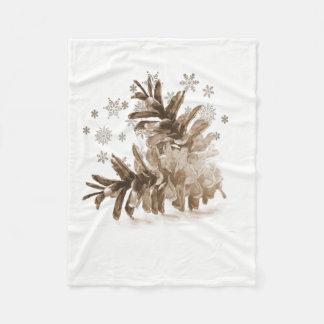 Pinecones rustique dans la couverture d'ouatine de