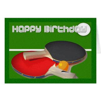Ping-pong de ping-pong de sport d'anniversaire carte de vœux