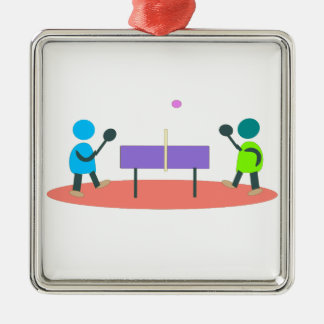 ping-pong ornement carré argenté