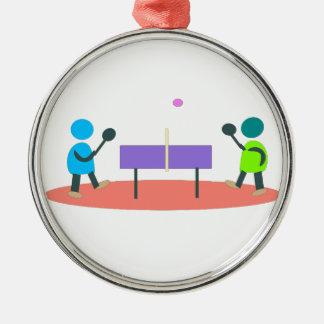 ping-pong ornement rond argenté
