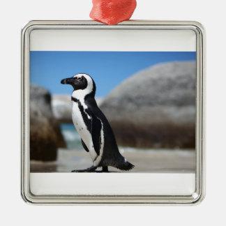 Pingouin africain ornement carré argenté