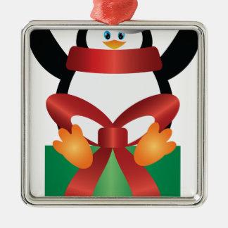 Pingouin avec le casquette de Père Noël sur Ornement Carré Argenté