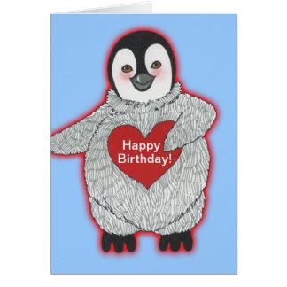 Pingouin avec le joyeux anniversaire de coeur cartes de vœux