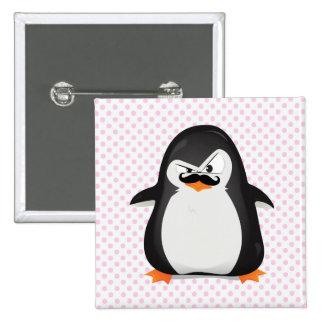 Pingouin blanc noir mignon et moustache drôle badge carré 5 cm