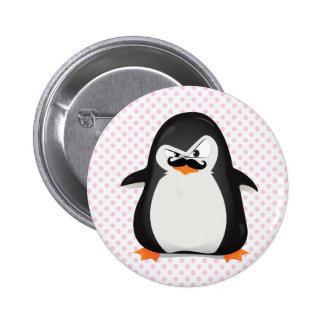 Pingouin blanc noir mignon et moustache drôle badge rond 5 cm