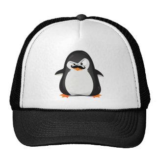 Pingouin blanc noir mignon et moustache drôle casquettes