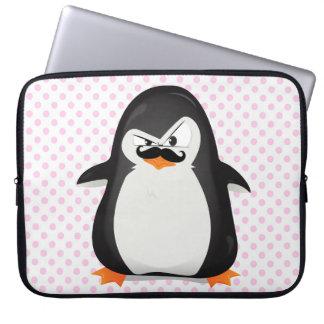 Pingouin blanc noir mignon et moustache drôle trousses ordinateur