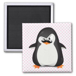 Pingouin blanc noir mignon et moustache drôle magnet carré