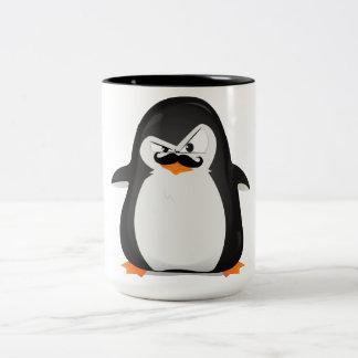 Pingouin blanc noir mignon et moustache drôle mug bicolore