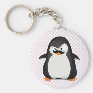 Pingouin blanc noir mignon et moustache drôle porte-clé rond