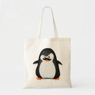 Pingouin blanc noir mignon et moustache drôle sac en toile