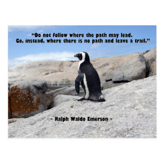 Pingouin, citation de Ralph Waldo Emerson Carte Postale