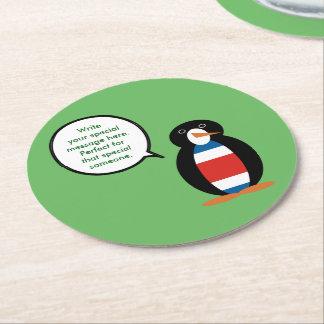 Pingouin civil de drapeau de Rican de côte Dessous-de-verre Rond En Papier