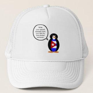 Pingouin cubain parlant de drapeau casquette