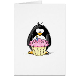 Pingouin d'anniversaire avec le petit gâteau carte de vœux