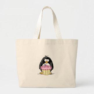 Pingouin d'anniversaire avec le petit gâteau sacs de toile