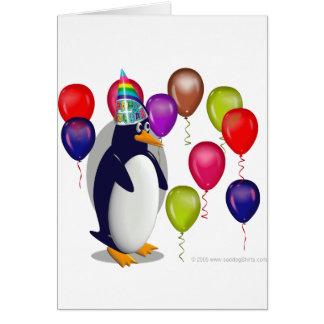 Pingouin d'anniversaire carte de vœux